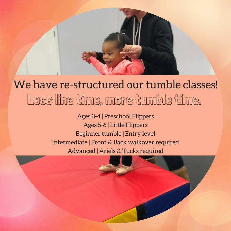 We have re-structured our tumble classes!